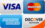We accept Visa, Mastercard, American Express and Discover